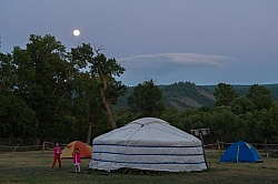 Full moon over camp