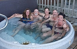 Enjoying the Hot Tub at Wilderness Tours Lodge at Horse Country Campground