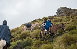 Ecuadorian girls join us on the trail in the high Andes