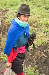 Ecuadorian Woman Carrying a Puppy