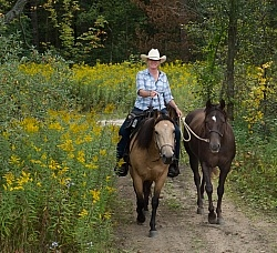 Leading a Horse on the Trail