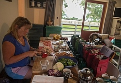 Angie Sorting Out Lunches at Hunter Valley Station