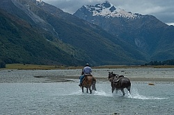 A River Crossing on the Day Ride From Boundary Hut, Wild Womens Expeditions with Adventure Horse Trekking New Zealand