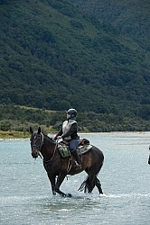 Kathy on the Day Ride From Boundary Hut, Wild Womens Expeditions with Adventure Horse Trekking New Zealand