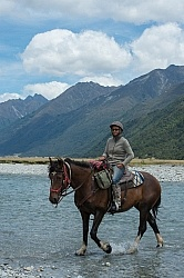 Megan on the Day Ride From Boundary Hut, Wild Womens Expeditions with Adventure Horse Trekking New Zealand