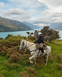 Helen on Cloud on The Ride Out Of Dingleburn Station on the Land of the Long White Cloud Ride with Wild Womens Expeditions and Adventure Horse Trekking New Zealand