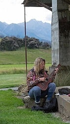 Angie Practices her Ukulele at Dingleburn Station on the Land of the Long White Cloud Ride with Wild Womens Expeditions and Adventure Horse Trekking New Zealand