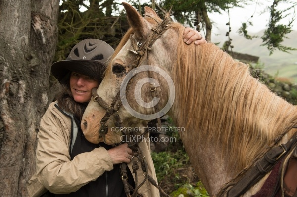 Shawn and Chuggo at Angels farm in the high Andes,Ecuador