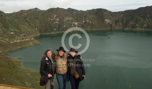 Shawn, Heather and Ali at   Crater Lake at Quilotoa volcano